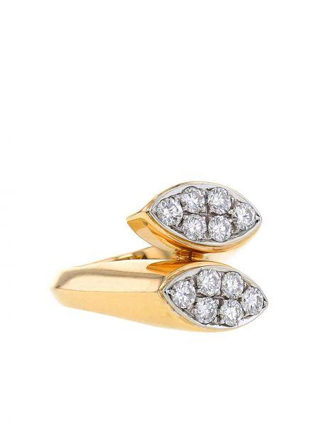 Z rombem żółty pierścień z diamentem Cartier