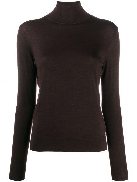 Прямой с рукавами шерстяной темно-коричневый свитер Theory