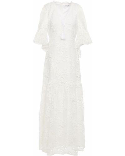 Гипюровое белое платье макси с кисточками Badgley Mischka