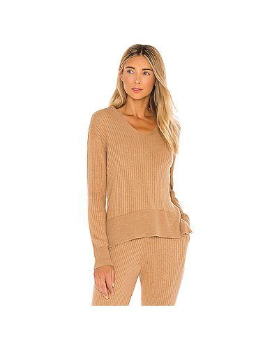 Акриловый свитер с капюшоном в рубчик с разрезом Skin
