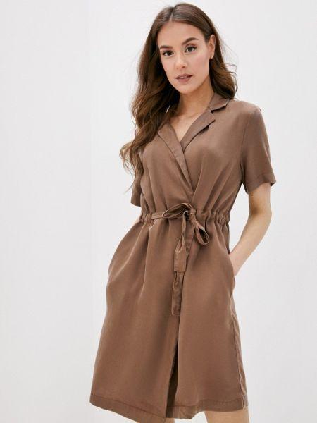Коричневое однобортное платье Pieces
