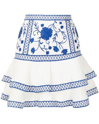 Niebieski z wysokim stanem spódnica mini z haftem Alexis