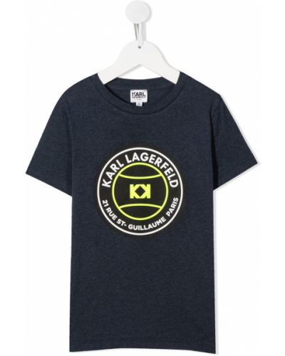 Хлопковая синяя футболка с короткими рукавами с круглым вырезом Karl Lagerfeld Kids