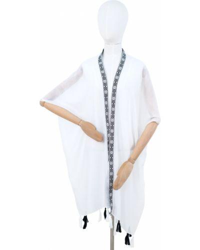 Biały ponczo z wiskozy Art Of Polo