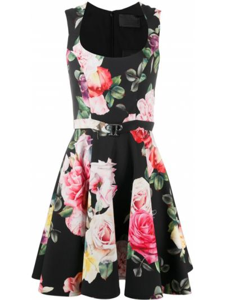 Черное платье мини в цветочный принт с вырезом Philipp Plein