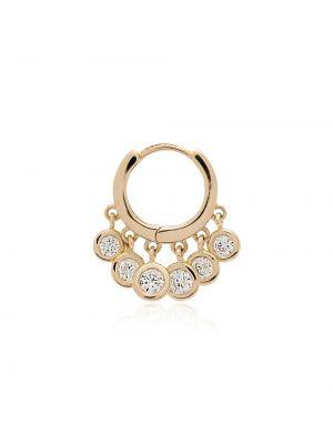 С ромбами золотистые желтые золотые серьги с бриллиантом Jacquie Aiche