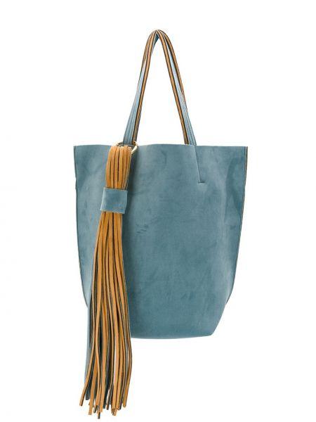 Синяя сумка-тоут с бахромой Alila