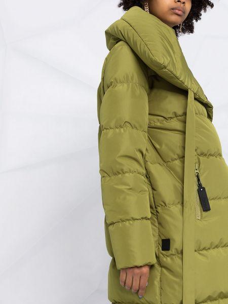Зеленое пуховое длинное пальто с воротником Bacon