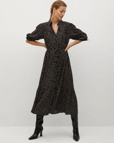 С рукавами черное платье макси с поясом Mango