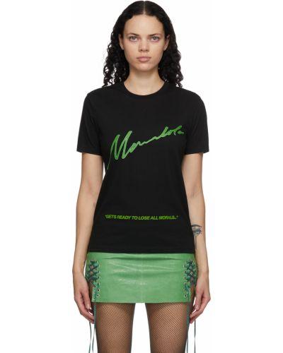 Czarny t-shirt z printem krótki rękaw Mowalola