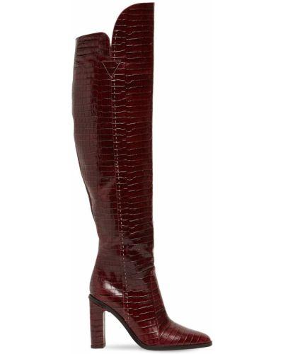 Красные ажурные сапоги без каблука из крокодила на каблуке Max Mara
