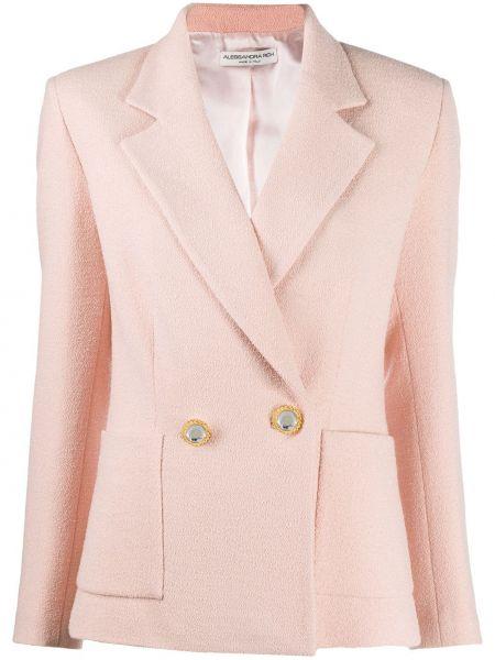 Шерстяной удлиненный пиджак двубортный с карманами Alessandra Rich