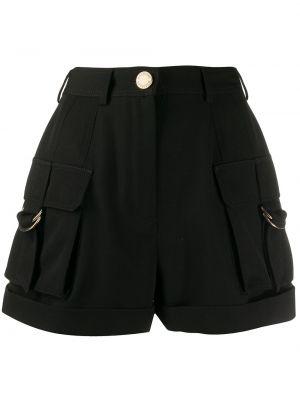 Черные шорты с карманами на пуговицах с высокой посадкой Balmain