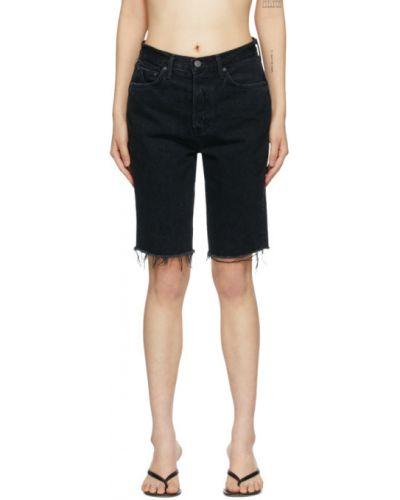 Кожаные черные джинсовые шорты с карманами с заплатками Grlfrnd