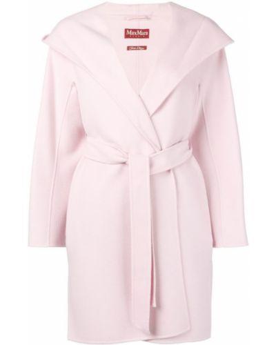 Пальто с капюшоном розовое с запахом Max Mara Studio