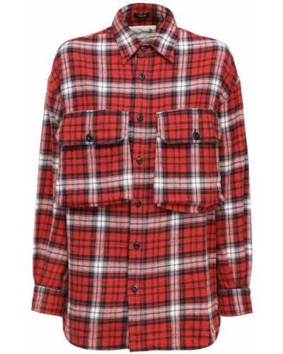 Фланелевая красная рубашка с карманами на пуговицах R13