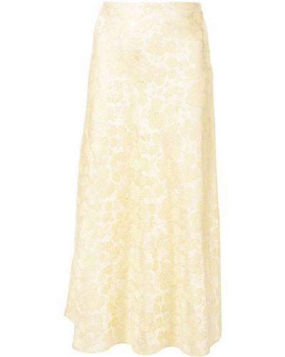 Желтая юбка миди с вышивкой в рубчик Markarian