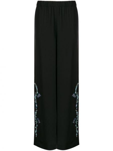 Черные расклешенные свободные брюки с вышивкой Vilshenko