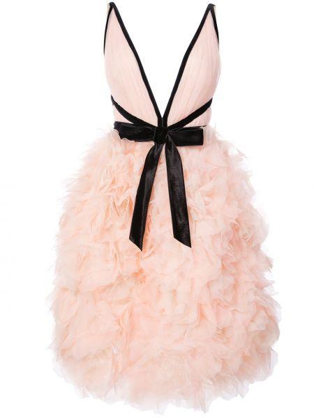 Нейлоновое асимметричное розовое коктейльное платье с декольте Marchesa