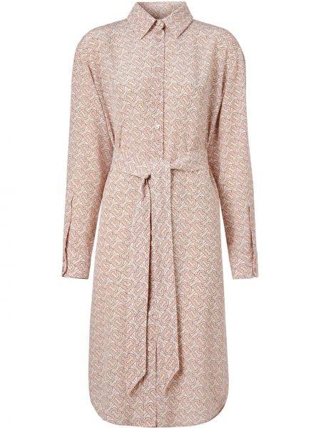 Розовое классическое платье на пуговицах с воротником Burberry
