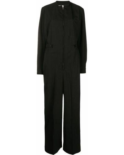 Bawełna czarny kombinezon z kieszeniami z długimi rękawami Lemaire