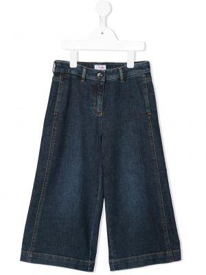 Хлопковые синие широкие джинсы свободного кроя Il Gufo