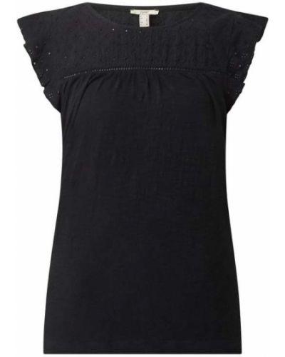 Czarna bluzka bawełniana z haftem Esprit