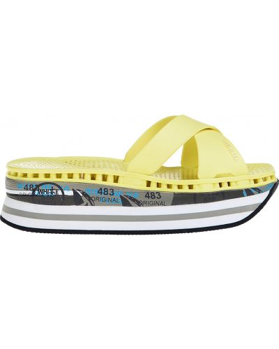 Шлепанцы на танкетке желтый Premiata