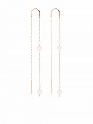 Żółte złote kolczyki sztyfty perły Mizuki