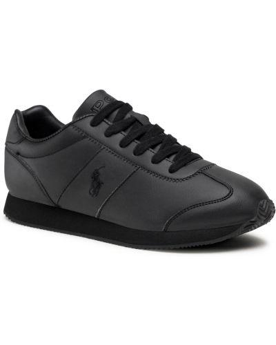 Półbuty skórzane casual - czarne Polo Ralph Lauren