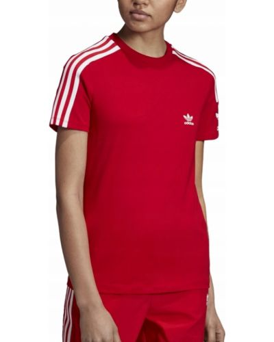 Bawełna czerwony t-shirt w paski Adidas