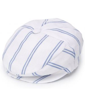 Biały beret bawełniany w paski Colorichiari