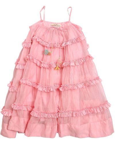 Розовое муслиновое платье на бретелях с оборками Péro