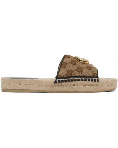 Otwarty czarny skórzany sandały okrągły Gucci