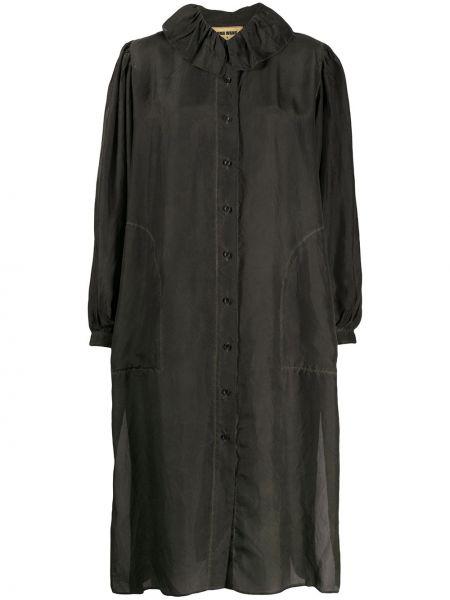 Прямое шелковое платье на пуговицах с вырезом Uma Wang