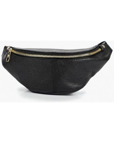Поясная сумка черная кожаная Dimanche