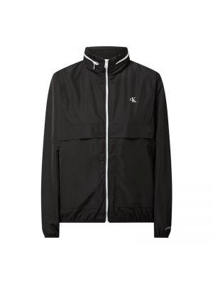 Czarna wiatrówka z kapturem z printem Calvin Klein Jeans