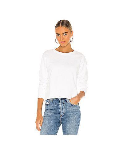 Белый свитер с декольте из футера с подкладкой Frank & Eileen