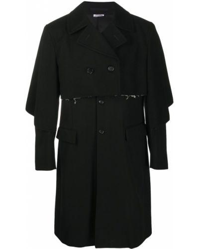 Wełniany czarny trencz z długimi rękawami z kieszeniami Comme Des Garcons Homme Plus