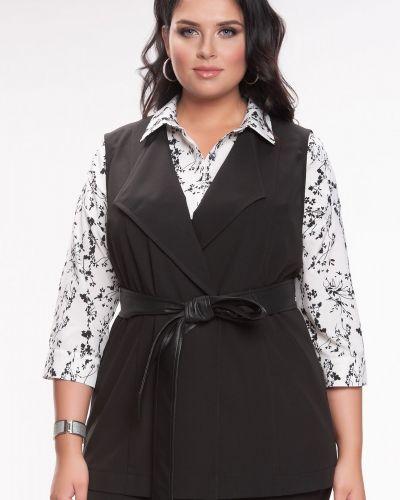 Прямая черная жилетка без рукавов прима линия