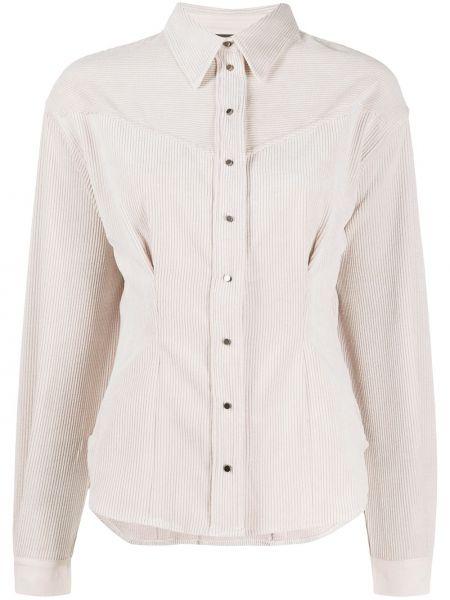 С рукавами белая рубашка вельветовая 8pm