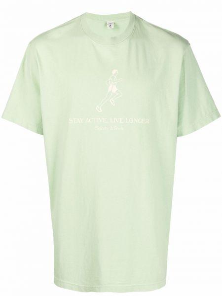 Zielona T-shirt z nadrukiem z printem Sporty And Rich