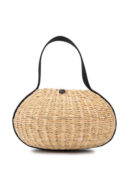 Черная соломенная сумка-тоут круглая с тиснением Muun