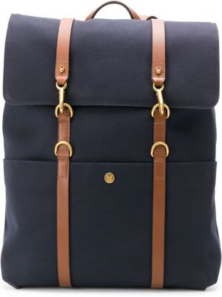 Кожаный синий рюкзак на бретелях с карманами Mismo