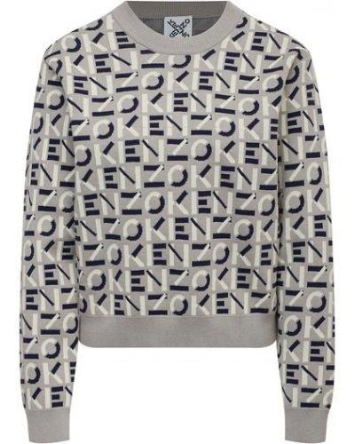 Хлопковый пуловер - серый Kenzo