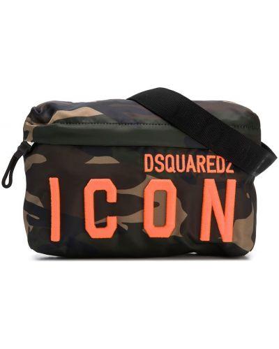 Ватная зеленая кожаная сумка на плечо Dsquared2 Kids