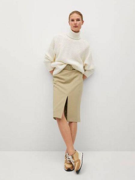 Beżowa spódnica ołówkowa z paskiem Mango