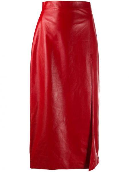 Skórzany z wysokim stanem spódnica midi Gucci