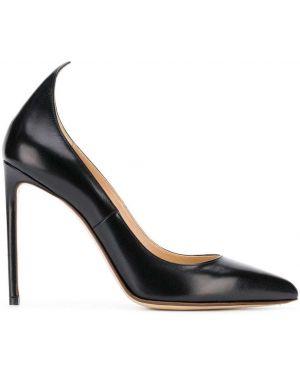 Туфли на каблуке черные кожаные Francesco Russo