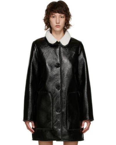 Флисовое черное длинное пальто с воротником с карманами A.p.c.